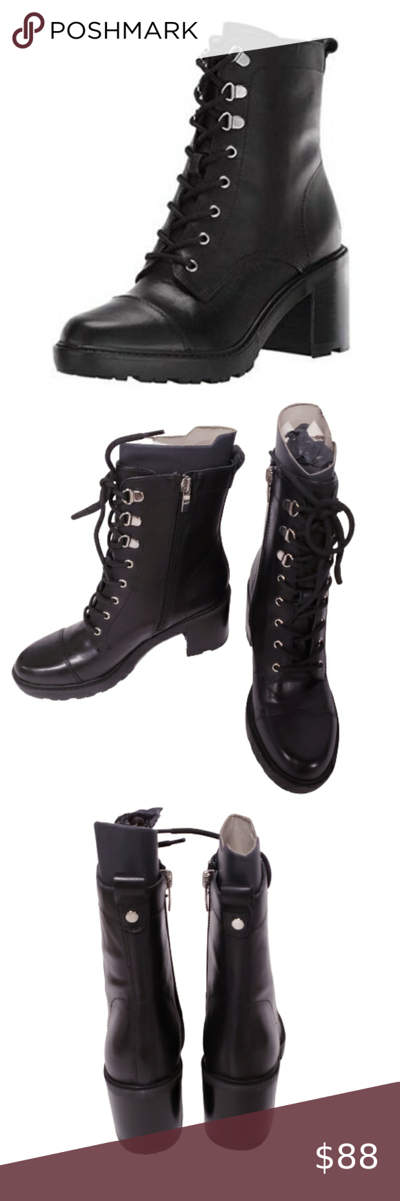 MARC FISHER Lanie Leather Combat Boot