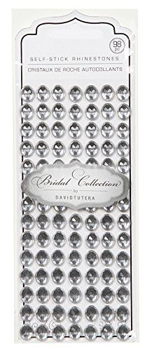 Darice DT2518 David Tutera 98Piece Self Stick Oval Rhinestones SilverClear