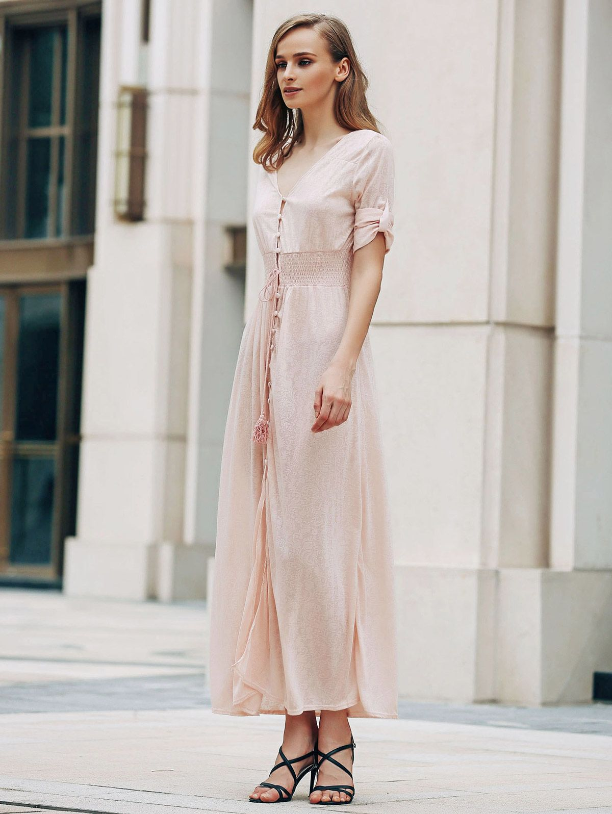 Pink Print V Neck Half Sleeve Maxi Dress