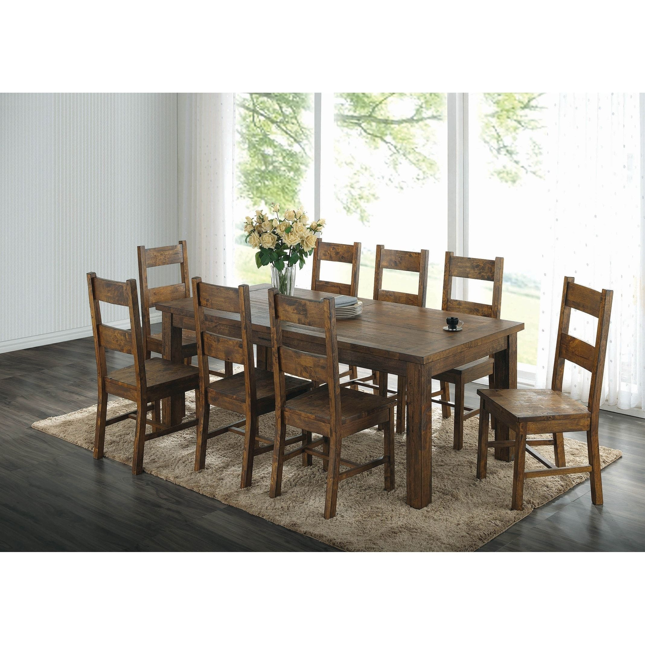 Verus Rustic Golden Brown 7 Piece Rectangle Dining Set Furniture Dining Table Dining Room Sets Dining Table