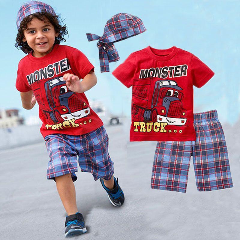 $7.99 (Buy here: https://alitems.com/g/1e8d114494ebda23ff8b16525dc3e8/?i=5&ulp=https%3A%2F%2Fwww.aliexpress.com%2Fitem%2F2015-New-Active-boys-sets-boy-shorts-Cartoon-suits-summer-short-sleeve-T-shirt-plaid-pants%2F32419875596.html ) Clothing sets 2017 New  boys set  boy shorts Cartoon suits summer short sleeve T-shirt + plaid pants + hat 3 pieces kids clothes for just $7.99