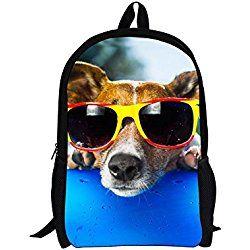 HUGSIDEA Funny Pet Dog Jack Russell Terrier Backpack Kid School Bag For Teen  Boys bf40e6aed51b4