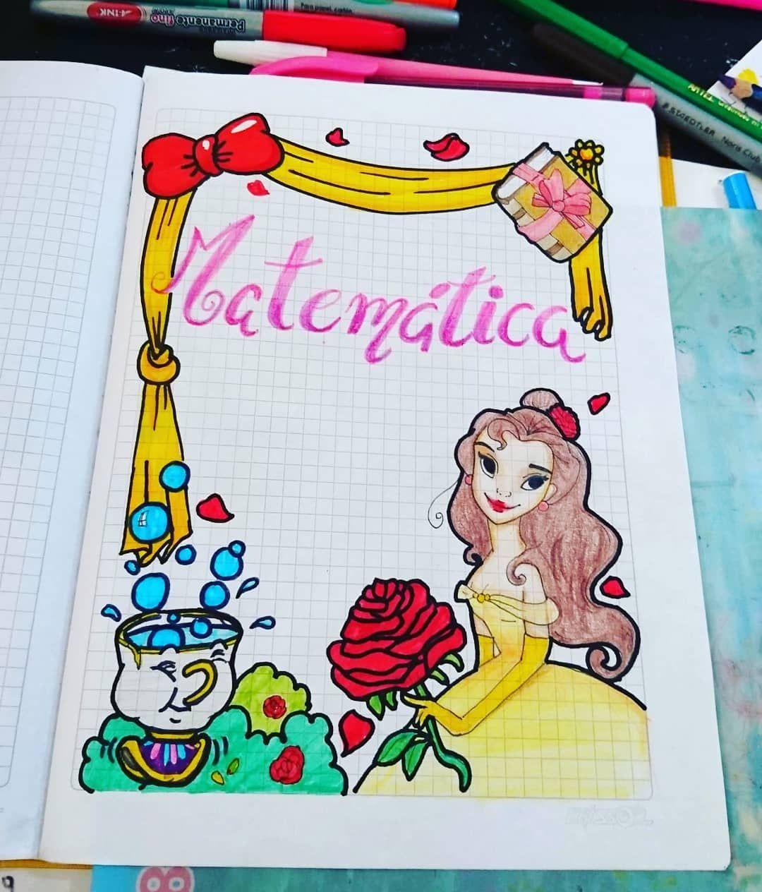 Caratula Con Tematica De Bella De Disney Para Cuaderno De Matematica Y Apuntes Caratulas Para Cuadernos Formas De Marcar Cuadernos Marcas De Cuadernos