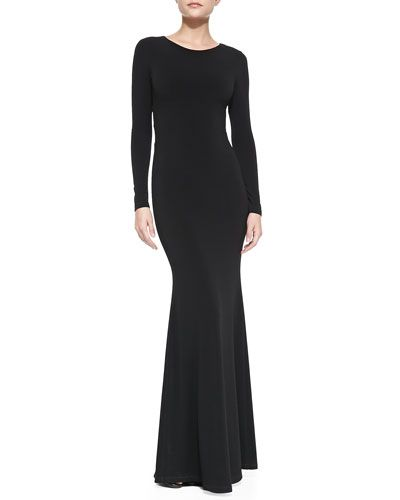854d57947602 Alice + Olivia Long-Sleeve Maxi Dress With Back Piping Accent | I'd ...