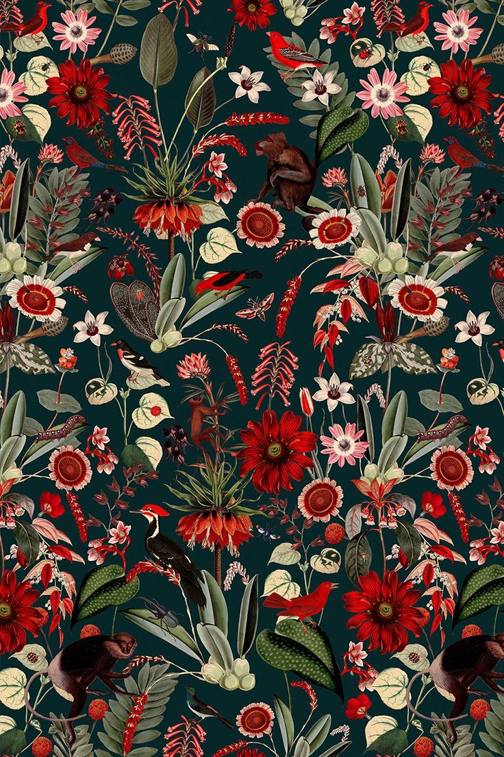 Eden Nightfall Fabulous Botanical Wallpaper Pattern With Red Flowers And Mandrills The Post Eden Nightfa Botanical Wallpaper Pattern Wallpaper Red Wallpaper