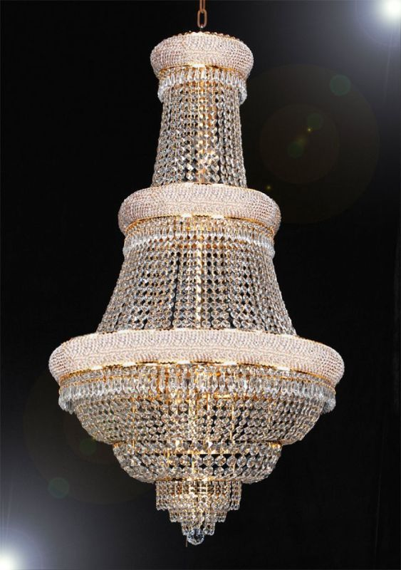 Gallery T40 430 French Empire 21 Light 2 Tier Crystal Chandelier With Clear Crys Gold Indoor Lighting Chandeliers