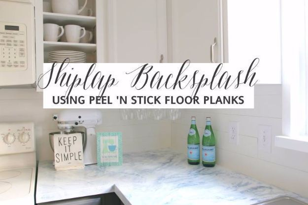 Diy home improvement on a budget faux shiplap backsplash with peel diy home improvement on a budget faux shiplap backsplash with peel n stick flooring easy and cheap do it yourself tutorials for updating and r solutioingenieria Images