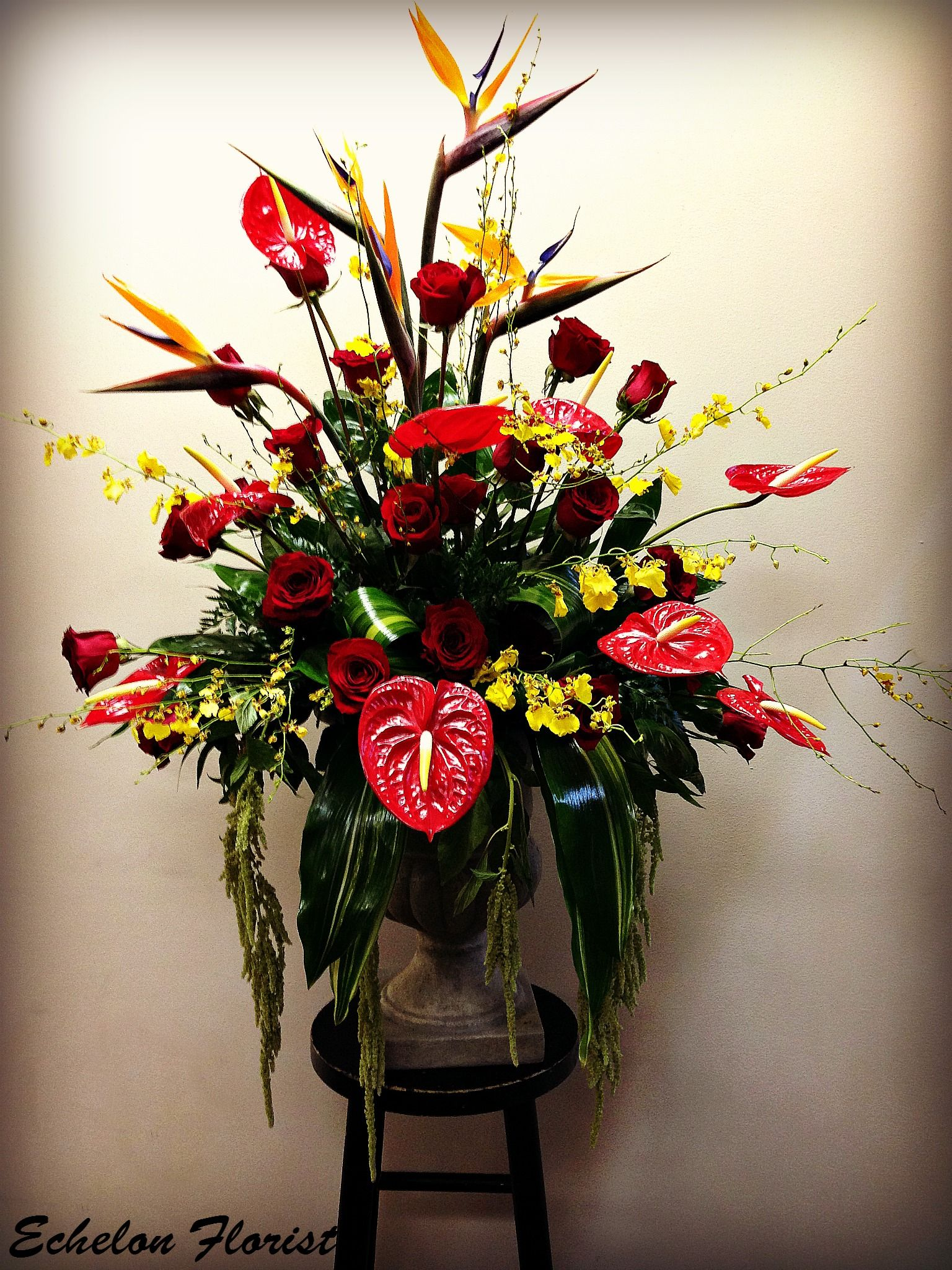 Red Sympathy Arrangement With Birds Of Paradise Roses Anthurium And Dancing Lady Orchids Sympathy Flowers Anthurium Sympathy Arrangements