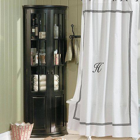 Chilton Glass Door Corner Cabinet Elegant Shower Curtains