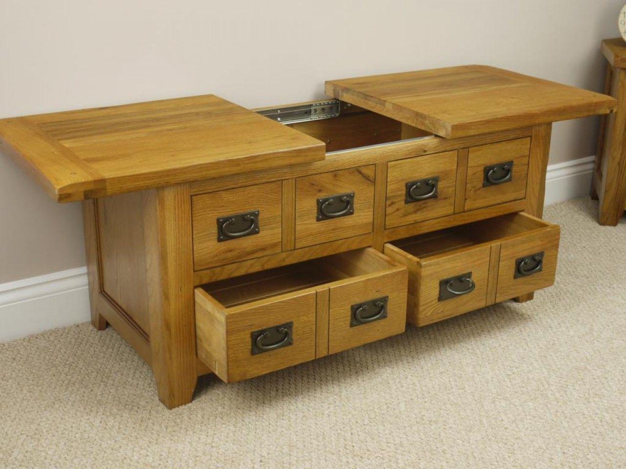 Glass Top Rustic Storage Coffee Table Oak Coffee Table