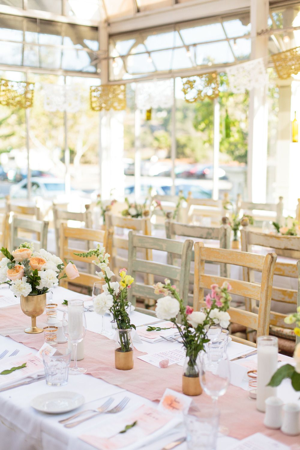 Pink and Gold Summer Greenhouse Wedding | Greenhouse wedding ...