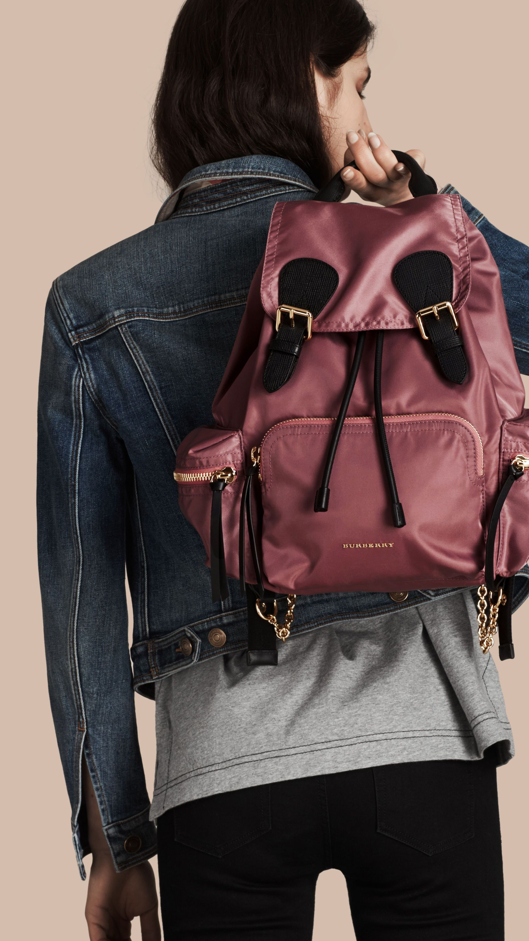 e1444cfb16 The Medium Rucksack in Technical Nylon and Leather Mauve Pink | Burberry