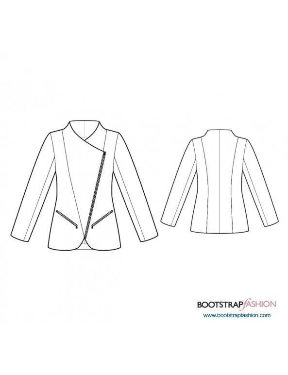 Jacket with diagonal zipper pattern $3   Sewing patterns to buy ...