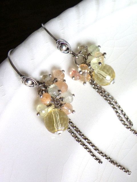 Wire wrapped handmade dangle earrings by lesbijouxdeSylvie on Etsy, $40.00