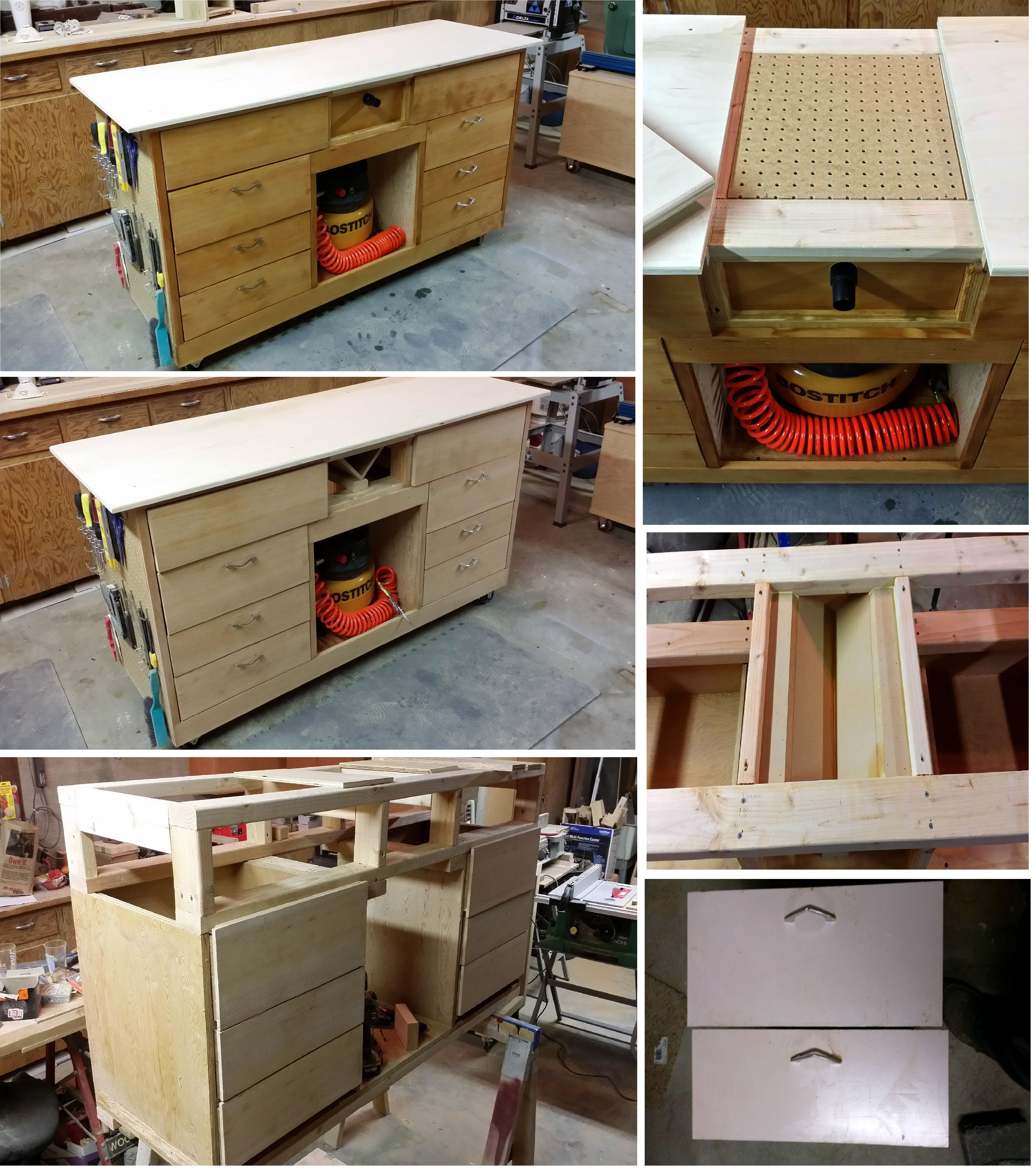 Mobile work station with downdraft area