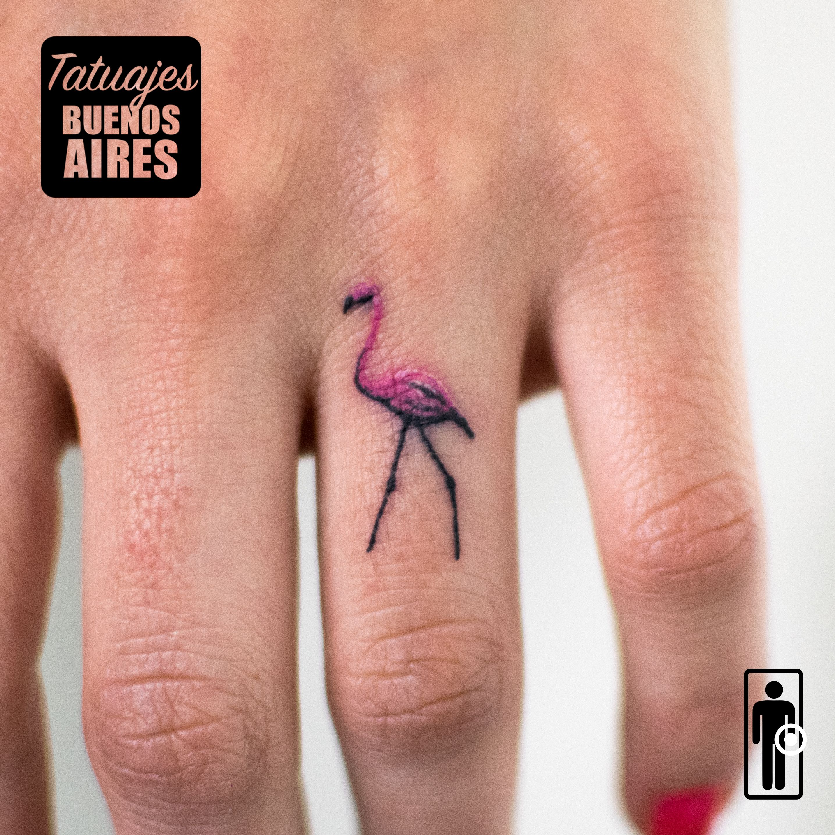 Tatuaje Flamenco Tattoo Flamento Rosa Animales Dedos Mano
