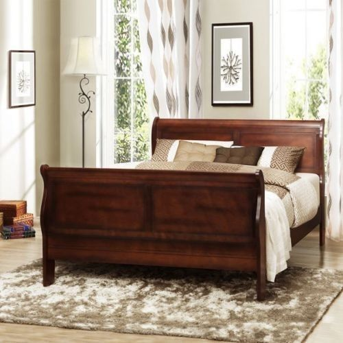 Wood Sleigh Bed Dark Cherry Bedroom Furniture Traditional Style