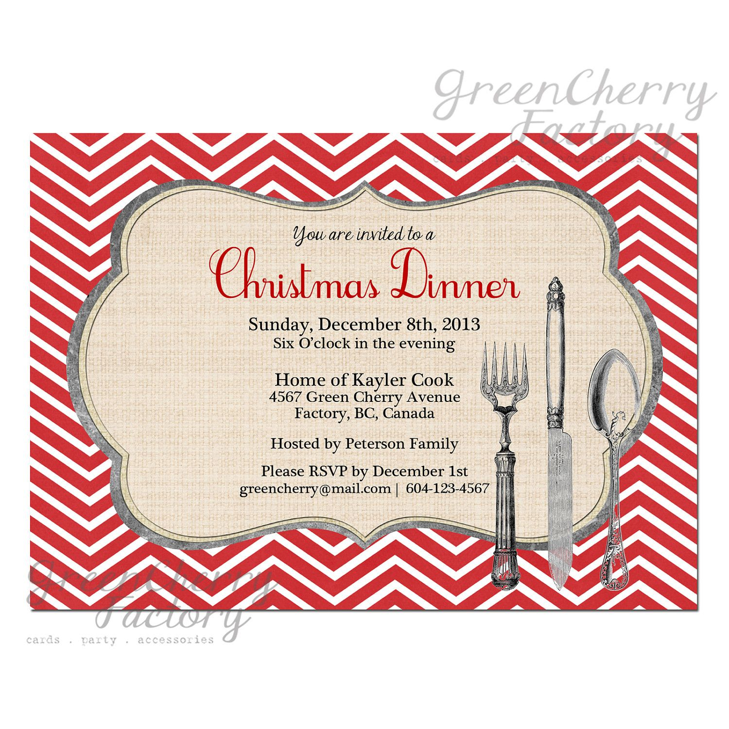 Christmas Party Dinner Invitation - Red Chevron Background ...