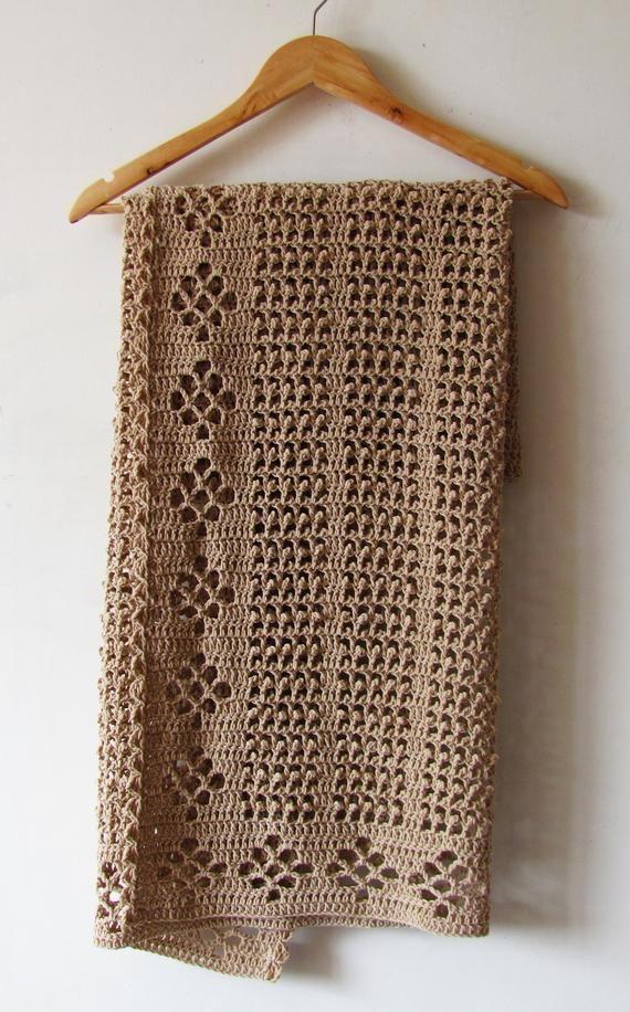 Crochet Baby Blanket - beige newborn blanket, hand
