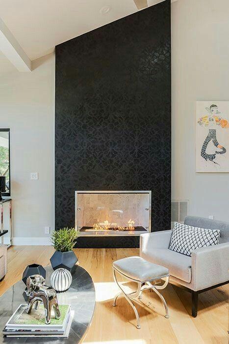 pinlonney on fireplace  black wallpaper living room