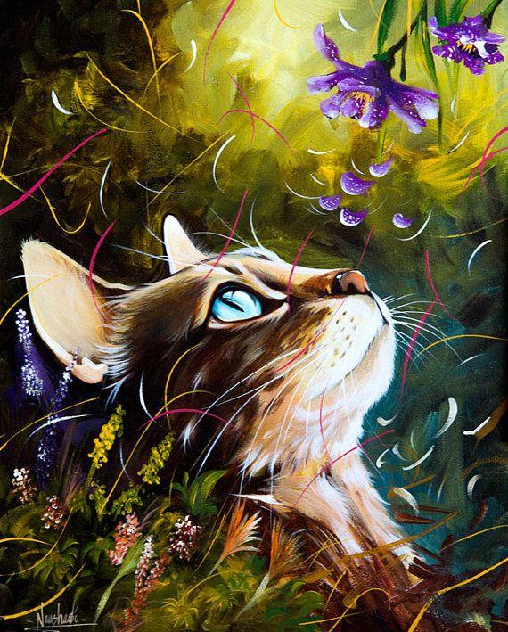 Chat reproduction, impression jet d'encre, animaux, art, peinture, art mural, imprimé Original, poster, affiche de chat, portrait de chat, portrait, CatQueens-4