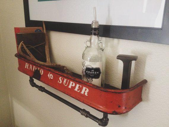 Repurposed Vintage Red Radio Flyer Wagon Shelf Radio