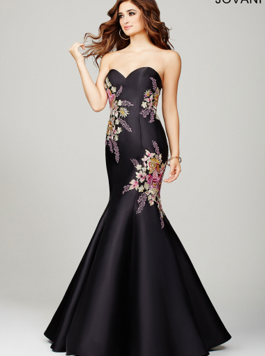 Black Floral Applique Prom Dress Jovani 33689 | Cheap Mermaid ...