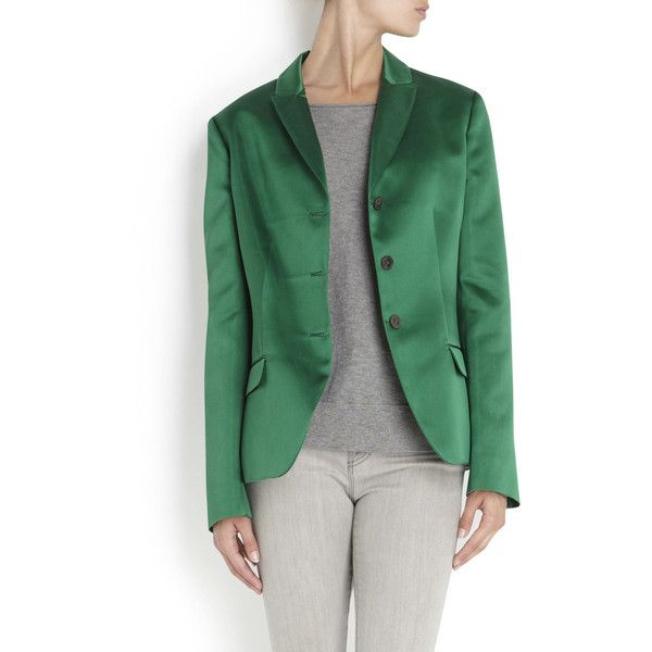 Jil Sander Silk Satin Jacket ($2,635) ❤ liked on Polyvore