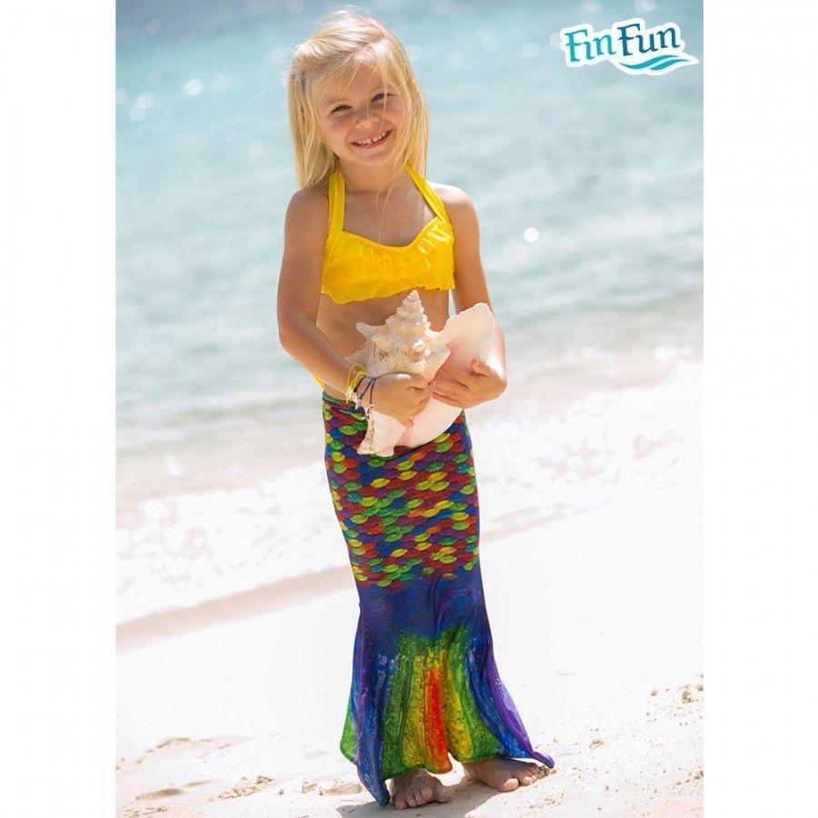 da1884f5e5 Love the Yellow Sea Wave top with the Rainbow Reef tail! Mermaid  SwimsuitMermaid ...