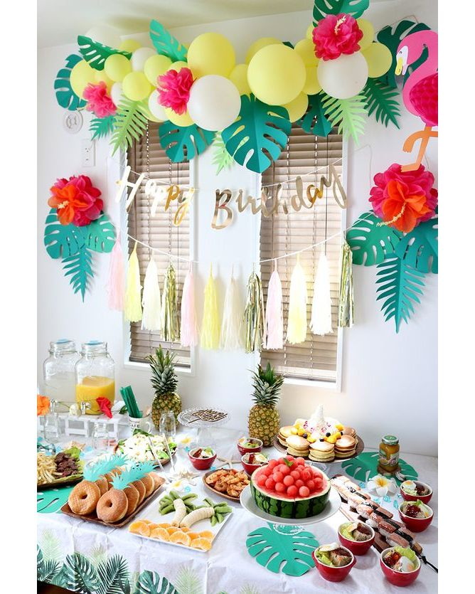 Holidayparty on instagram  ctropical party is still the best   also aloha table decorations bachelorette in pinterest rh
