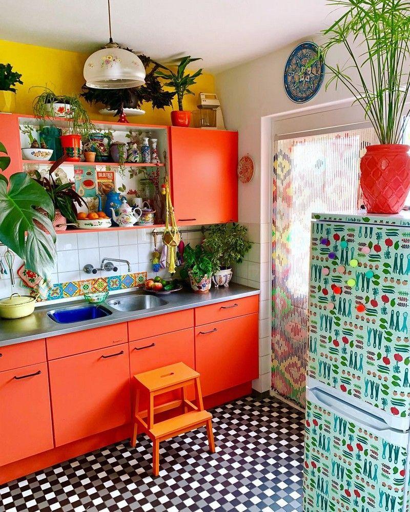 Modern Bohemian Kitchen Designs  Cuisine colorée, Cuisines design