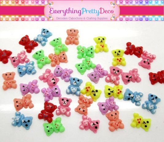 50 Piece Mixed Colored Mini Bear Sprinkles Resin Kawaii Decoden Cabochons - Assorted (EPD1178)