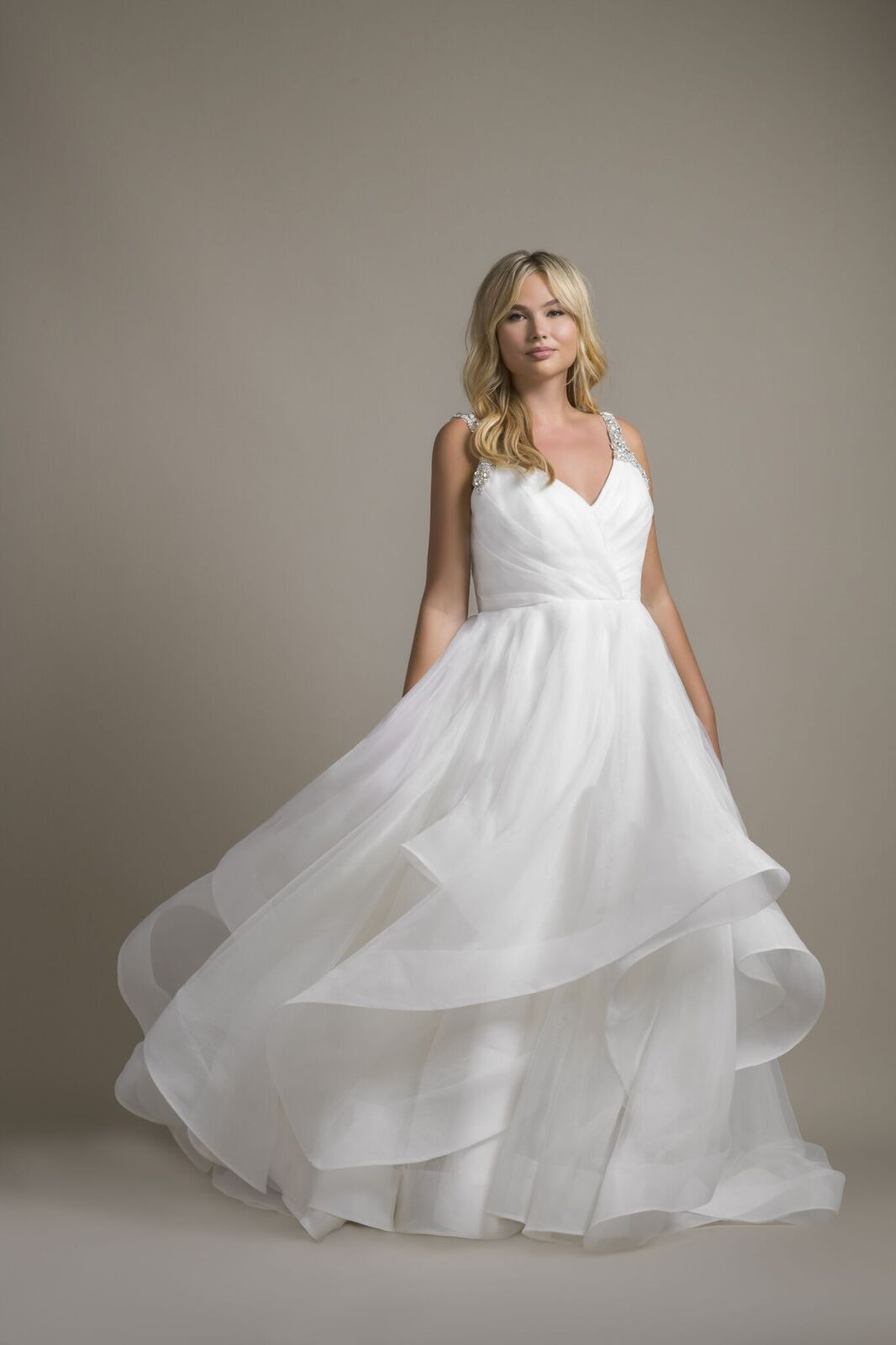 """Dare"" Hayley Paige bridal gown Ivory draped organza"