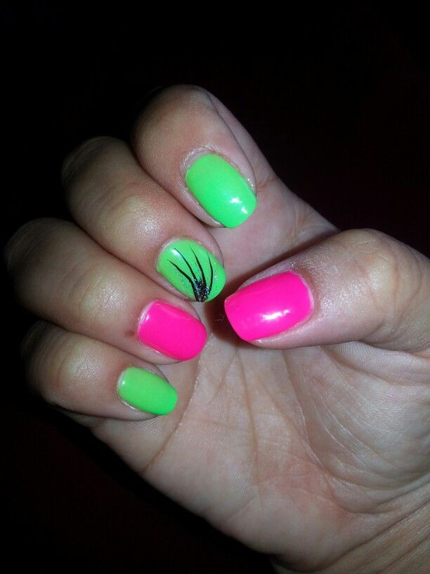 Lime Green And Pink Nails Pink Nails Nails Lime