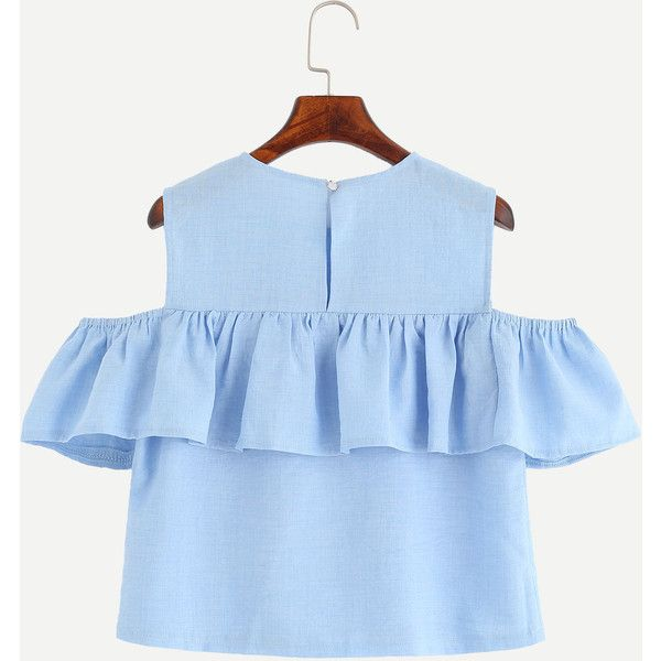 2c6a8dd283e59 SheIn(sheinside) Blue Open Shoulder Ruffle Top ( 13) ❤ liked on Polyvore  featuring tops