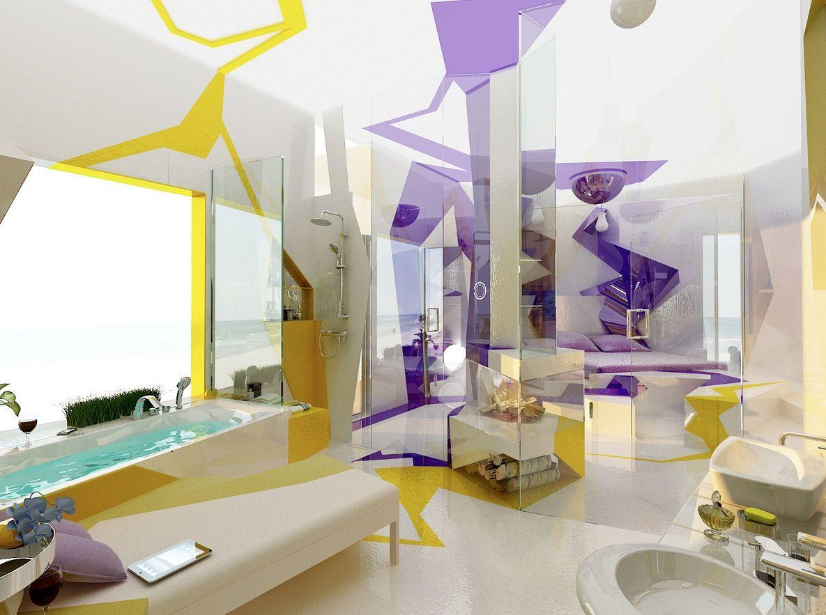purple and yellow home interiors | : Purple Yellow White Bathroom ...