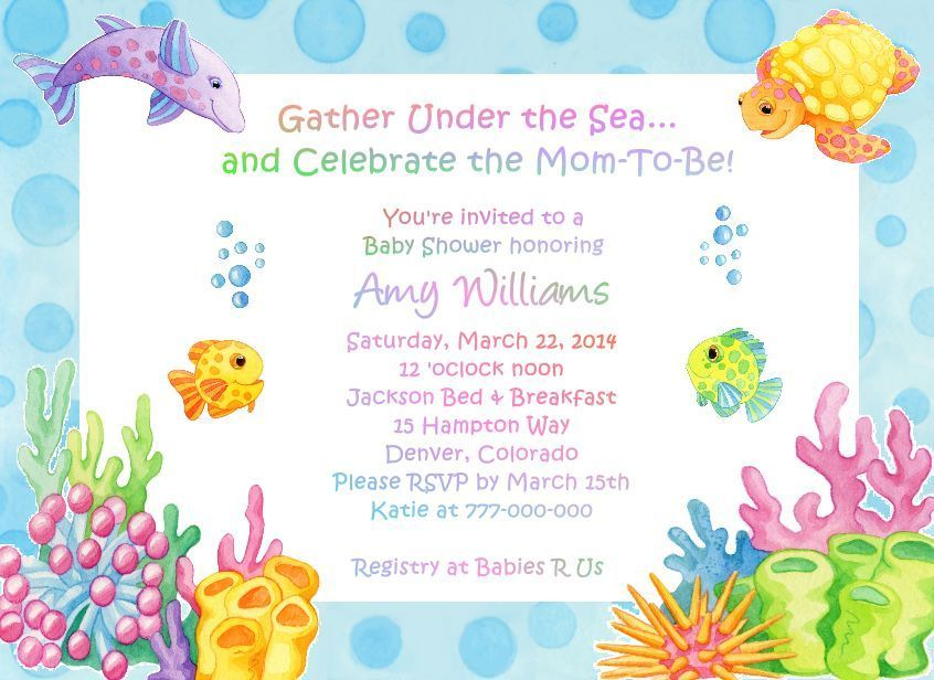 Cool Free Template Under The Sea Baby Shower Invitations Bagvania