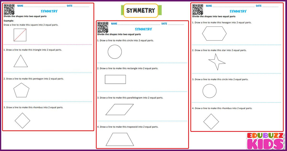 Free Math Symmetry Worksheets For The Kids Of Grade 1 Here The Kids Have To Draw A Line To Make An Object Into 2 Symmetry Worksheets Math Worksheets Free Math