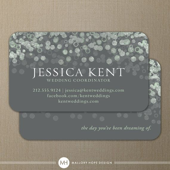 Champagne bubbles business card calling card contact for Wedding planning business cards