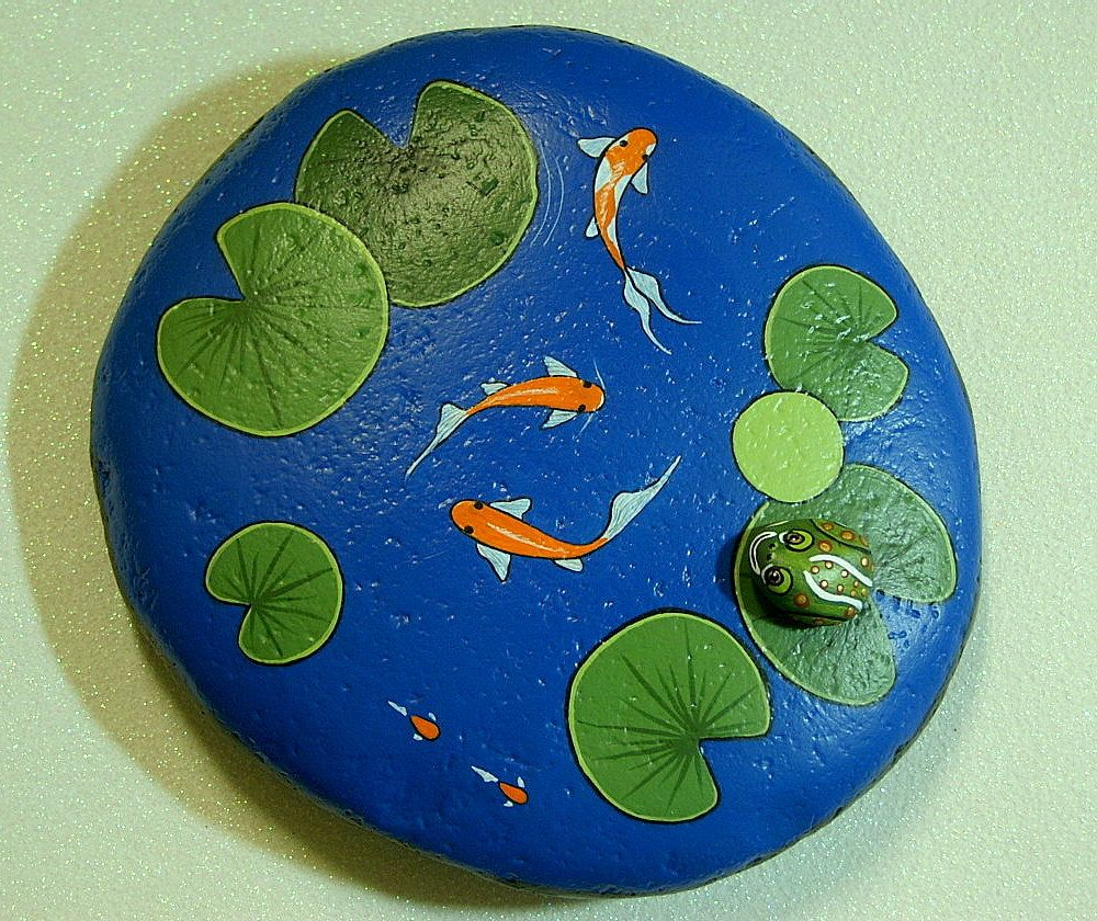 Painted garden rocks koi pond large weatherproof rock for Koi fish pond decorations
