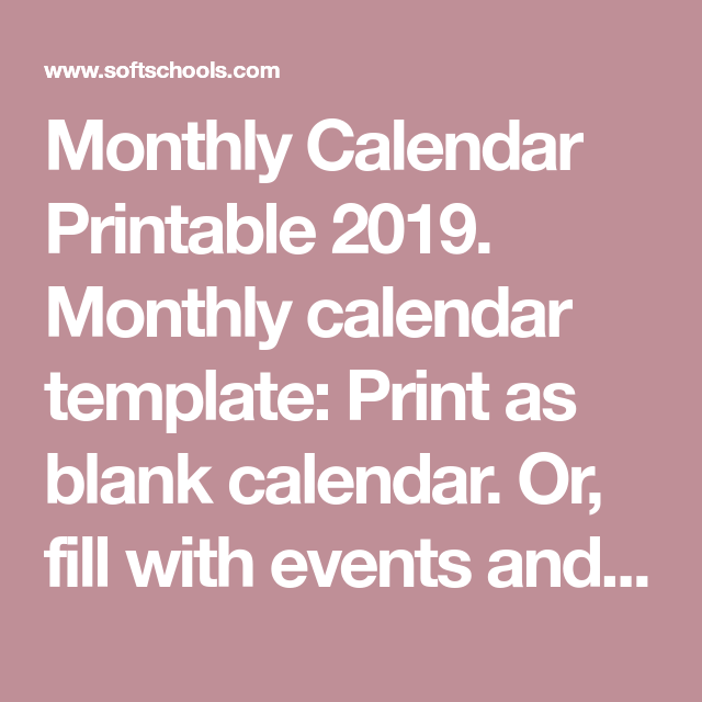 Monthly Calendar Printable 2019. Monthly Calendar Template