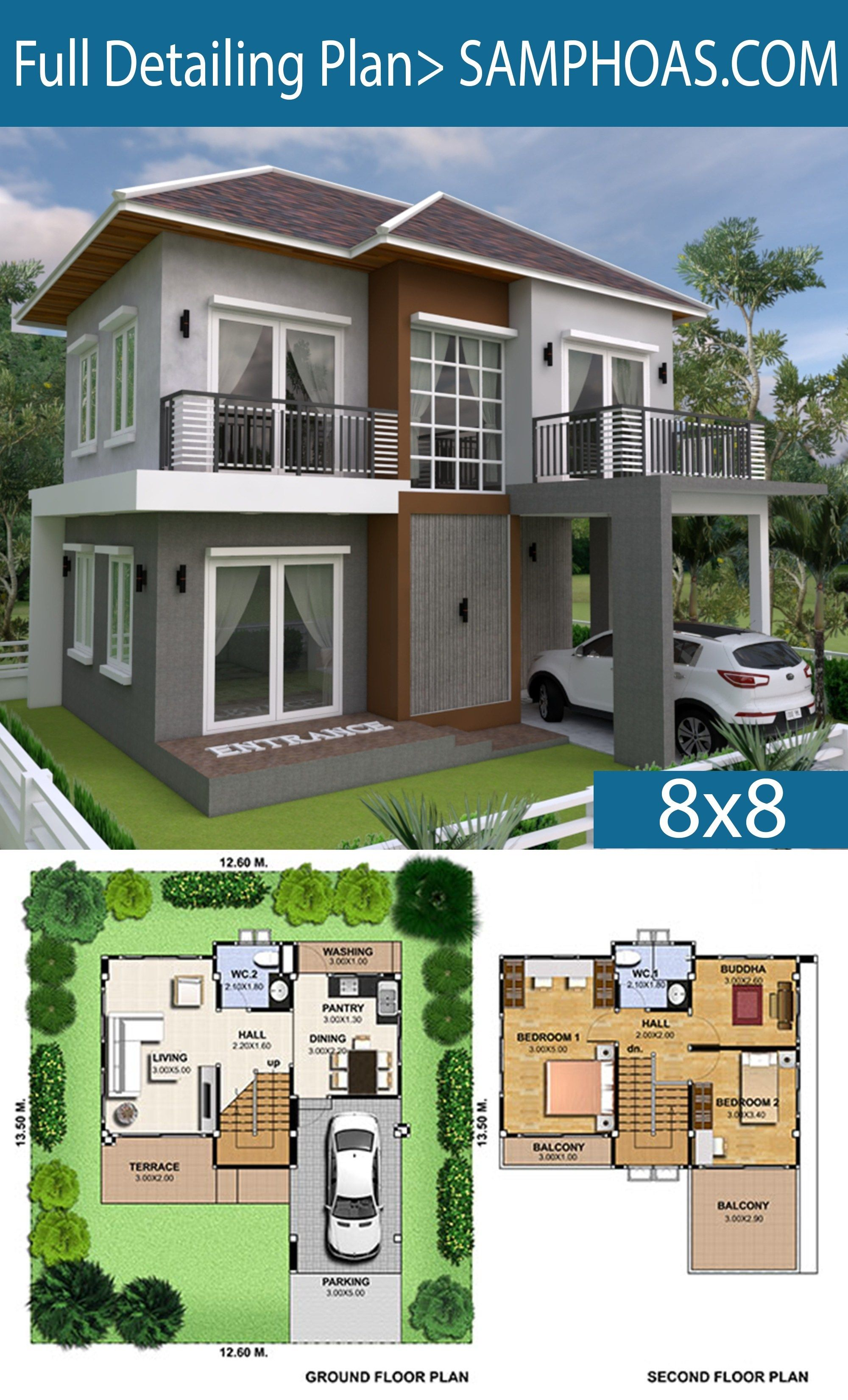3 Bedrooms Home Plan 8x8m House Plans Home Design Floor Plans Modern House Plans