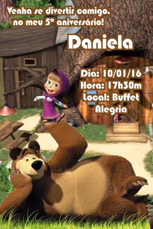Convite Digital Personalizado Masha E O Urso Kidsart Aniversario