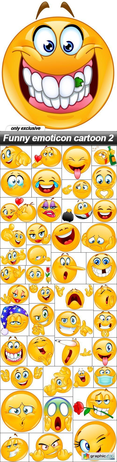 Funny emoticon cartoon 2 - 44 EPS