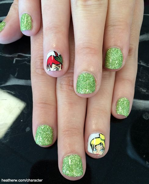 Tinkerbell Nails: Tinker Bell & Peter Pan With Green Glitter Nails