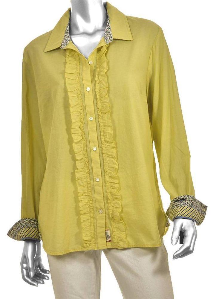 b39dbe211e8a NWT  59.50 Tommy Hilfiger Yellow Button-Down Shirt Vertical Ruffle Women s  XL  TommyHilfiger  ButtonDownShirt  Casual