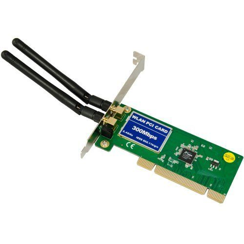 300Mbps PCI WIRELESS LAN CARD WIFI 802.11b/g/n WLAN Adapter WI-FI by VOT. $11.59. Features 300Mbps wireless transmission rate  Provides two methods of operation: Infrastructure and Ad-Hoc Quick secure setup, complies with WPS for worry free wireless security Supports 64/128-bit WEP, complies with 128 bit WPA standard(TKIP/AES), supports MIC, IV Expansion,shares key authentication, IEEE 802.1X  Supports sony PSP for online game  Supports Windows 2000/XP/Vista/Win7/Linu...