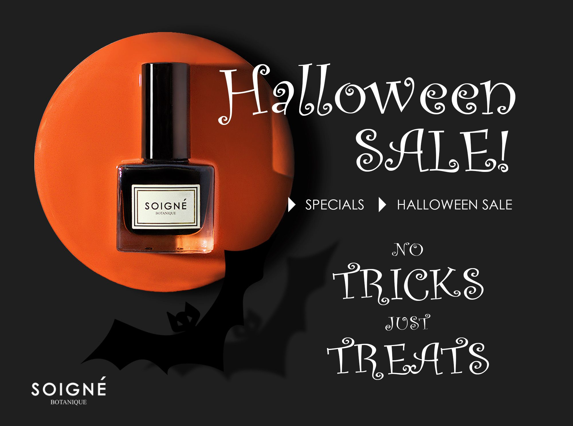 No tricks, just TREATS! 40% OFF on selected Halloween shades! Limited time only! Check out at http://www.soignenails.com/collections/halloween-sale #Soigne #Halloween #sale #promotion #persimmon #iencredeseiche
