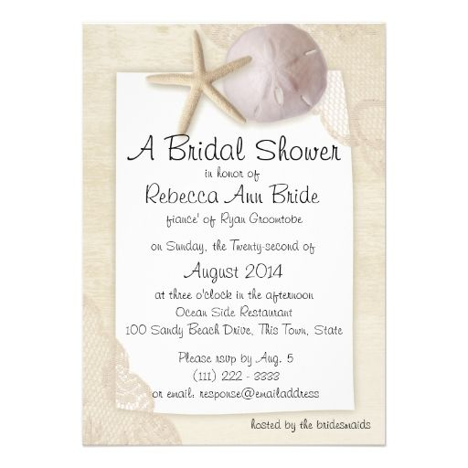 Sand Dollar and Ivory Lace Bridal Shower Personalized Invitation
