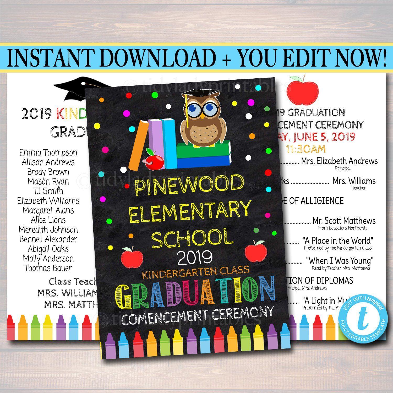Editable Graduation Ceremony Program Template Any Grade Printable Kindergarten Preschool Prek Elementary School Ceremony Instant Download Kindergarten Graduation Programs Ceremony Program Template Graduation Ceremony [ 1500 x 1500 Pixel ]